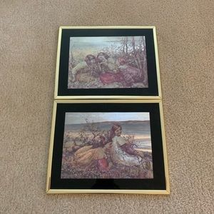 Two Pictures with Gold Frames